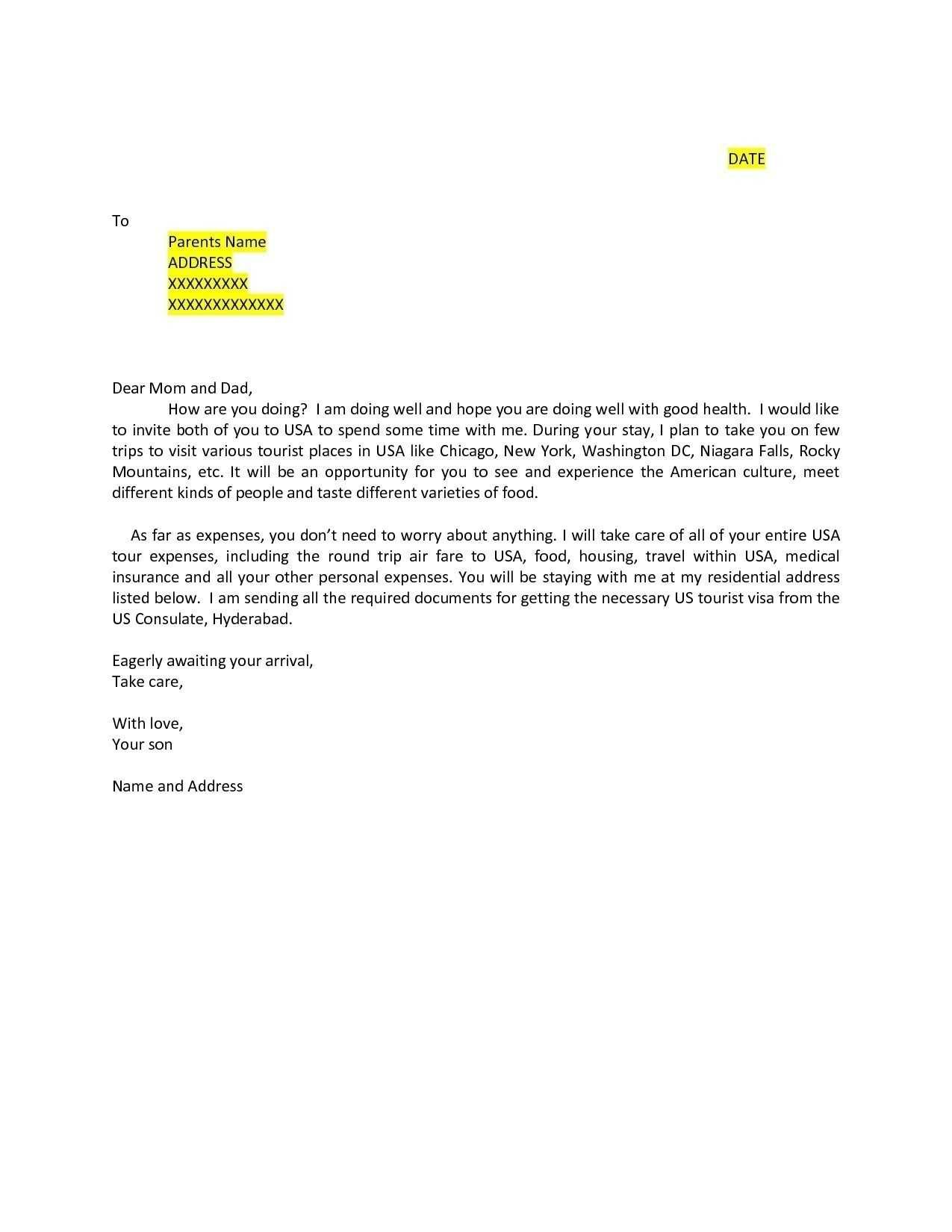 5 Format Of Us Invitation Letter Sample For Visitor Visa And Review