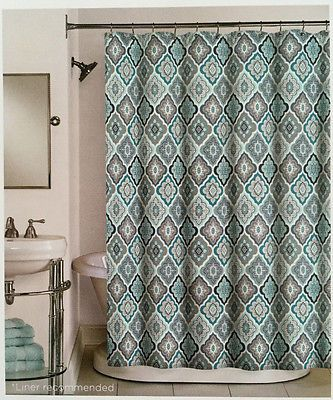 Peri Lilian Tile Medallion Aqua Teal Grey White Fabric Shower