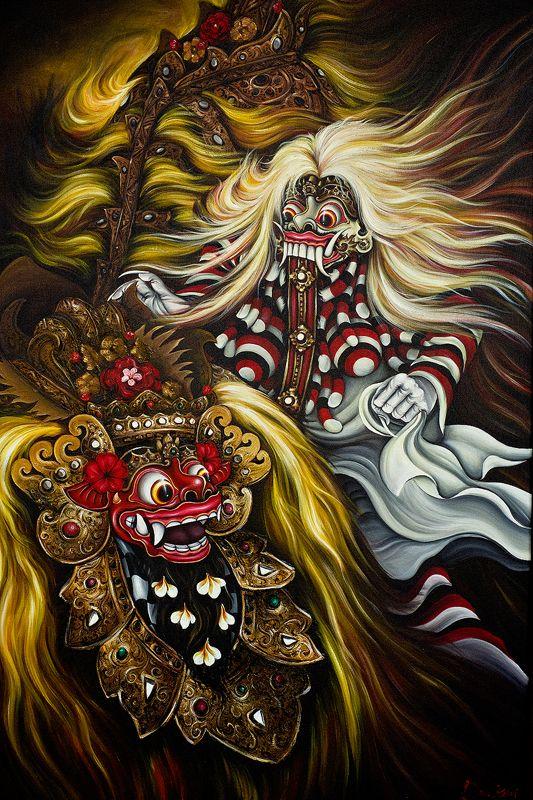 barong and rangda by caravela bali painting barong indonesian art bali painting barong indonesian art