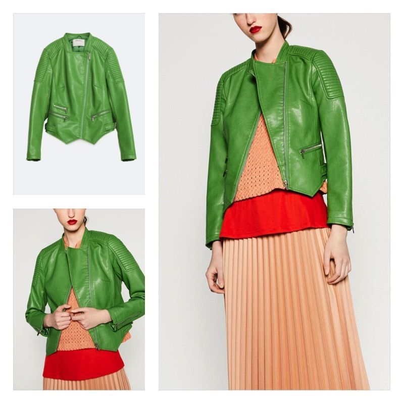 Details about Zara FAUX LEATHER JACKET Ref. 3046/029. Apple Green ...