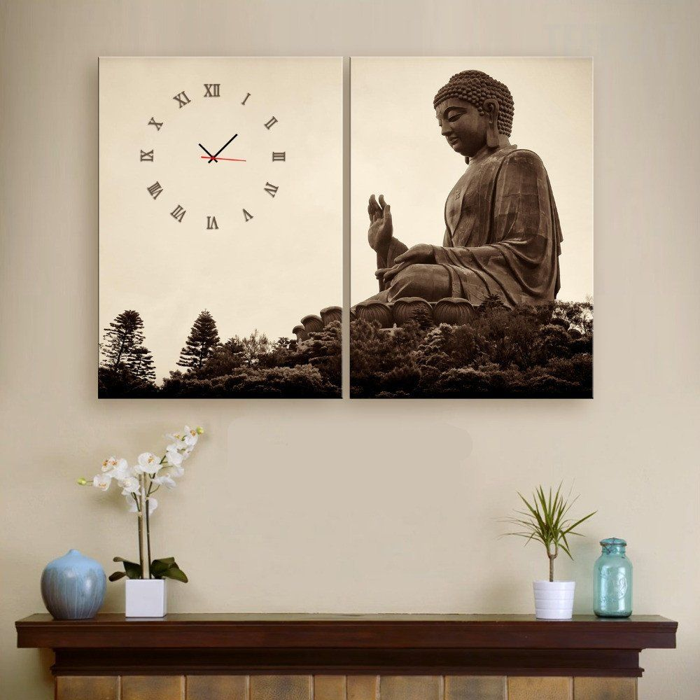Giant Buddha Clock In Canvas 2pcs Wall Clock Customized Canvas Art Canvas Art Mosaic Artwork