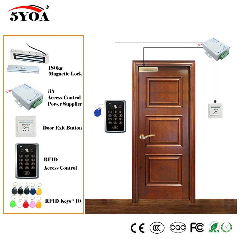 Rfid Access Control System Kit Wooden Glasses Door Set Eletric Magnetic Lock Id Card Keytab Power Supplier E Access Control Access Control System Magnetic Lock