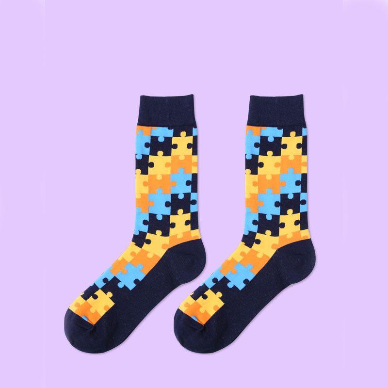 Geometric Colorful Happy Socks Ladies Cotton Sock Size 9-11 Funky Cool Fun Cute