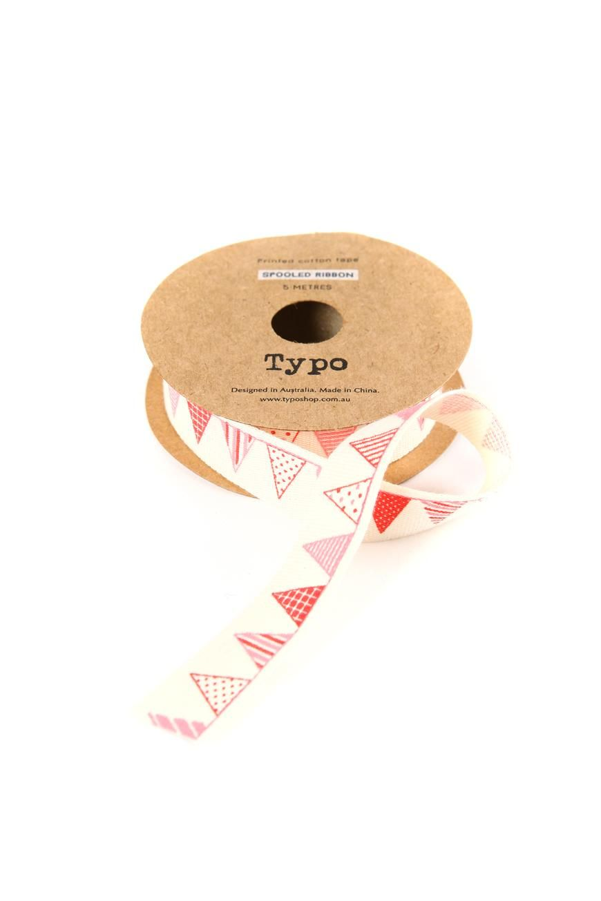 spooled ribbon with little bunting pictures on it!