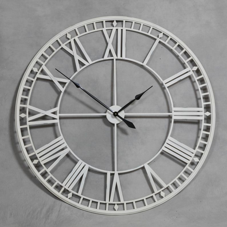 Roman Style Skeleton Wall Clock Skeleton Wall Clock Silver Wall Clock Large Wall Clock Decor