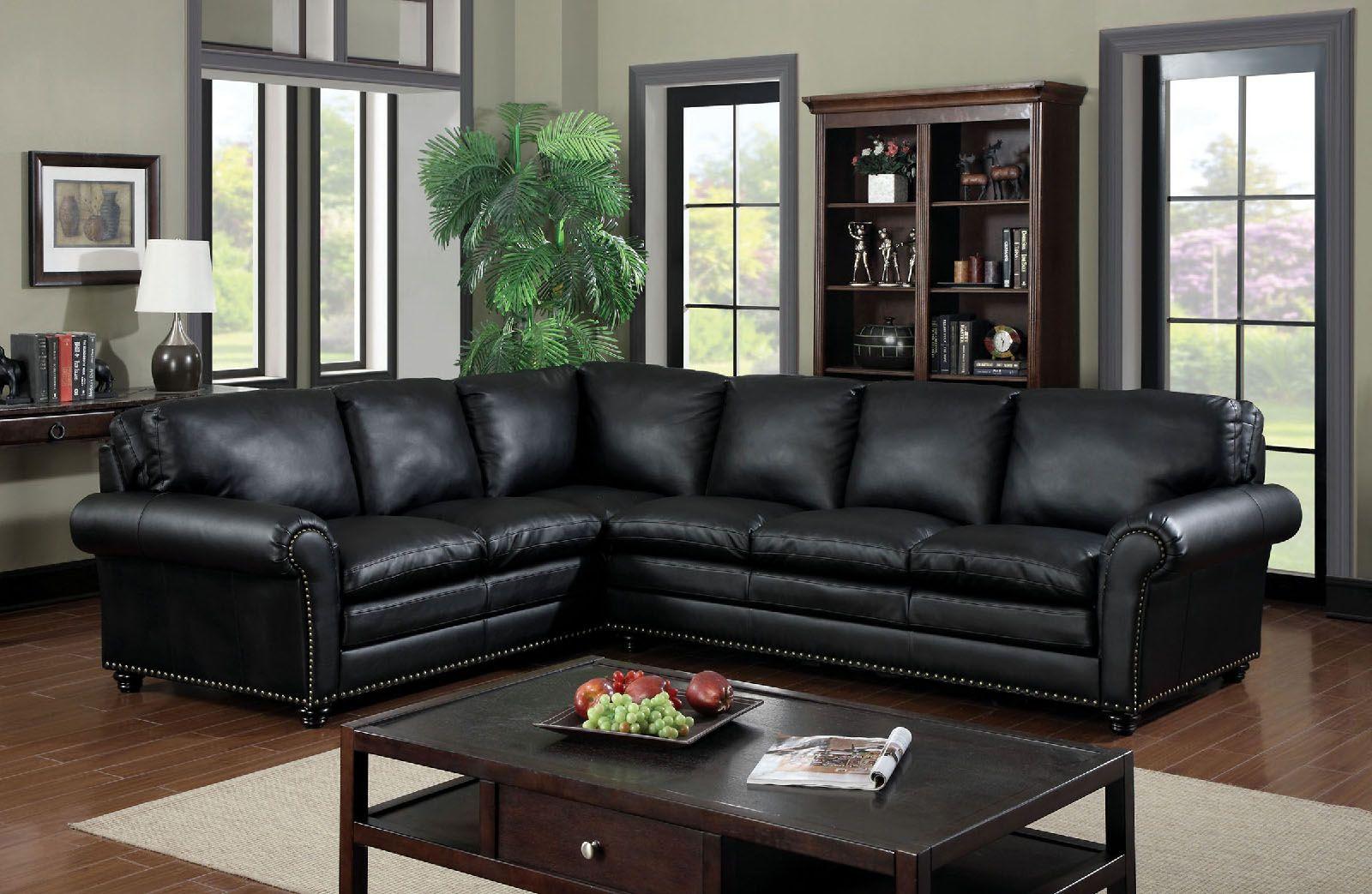 Payette 6808 Black Nailhead Trim Sectional Sofa Leather Sectional Living Room Living Room Sectional Sectional Sofa Comfy
