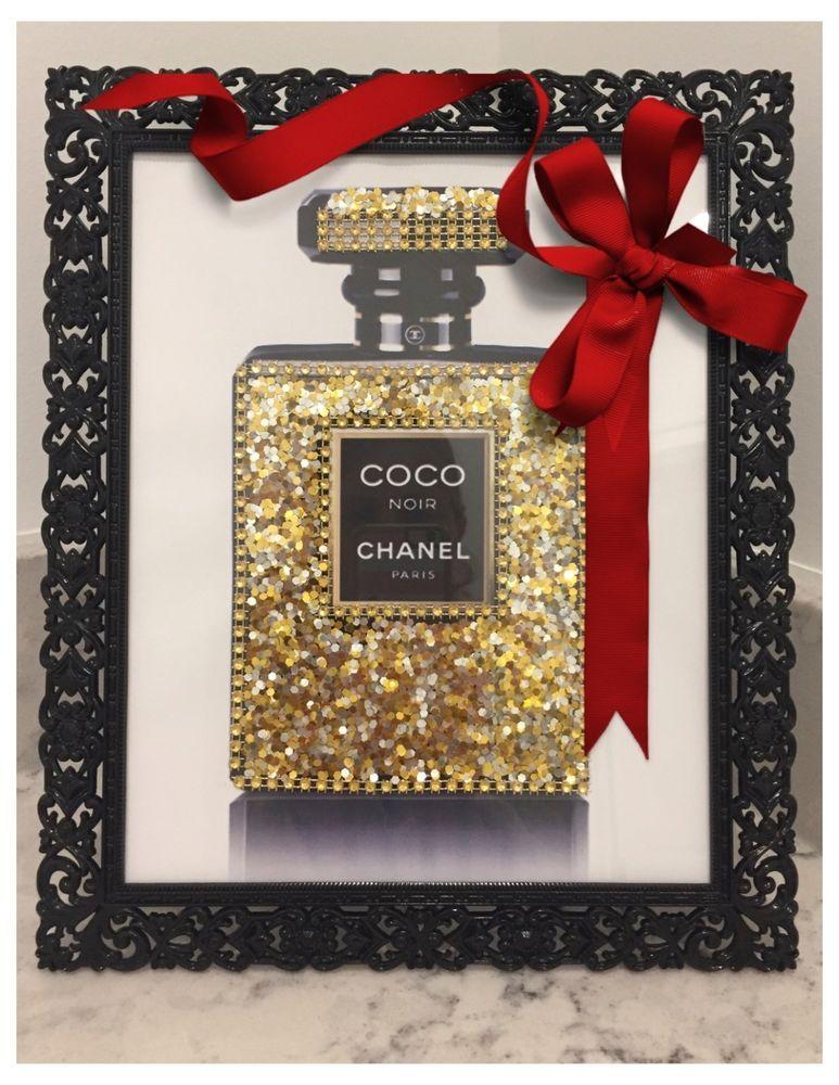 Chanel Coco Noir Pop Art Bling Glitter Crystal Print In