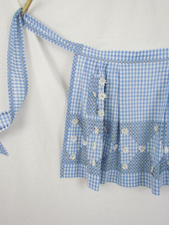 Vintage apron in in blue gingham check with black by clcort, $8.00