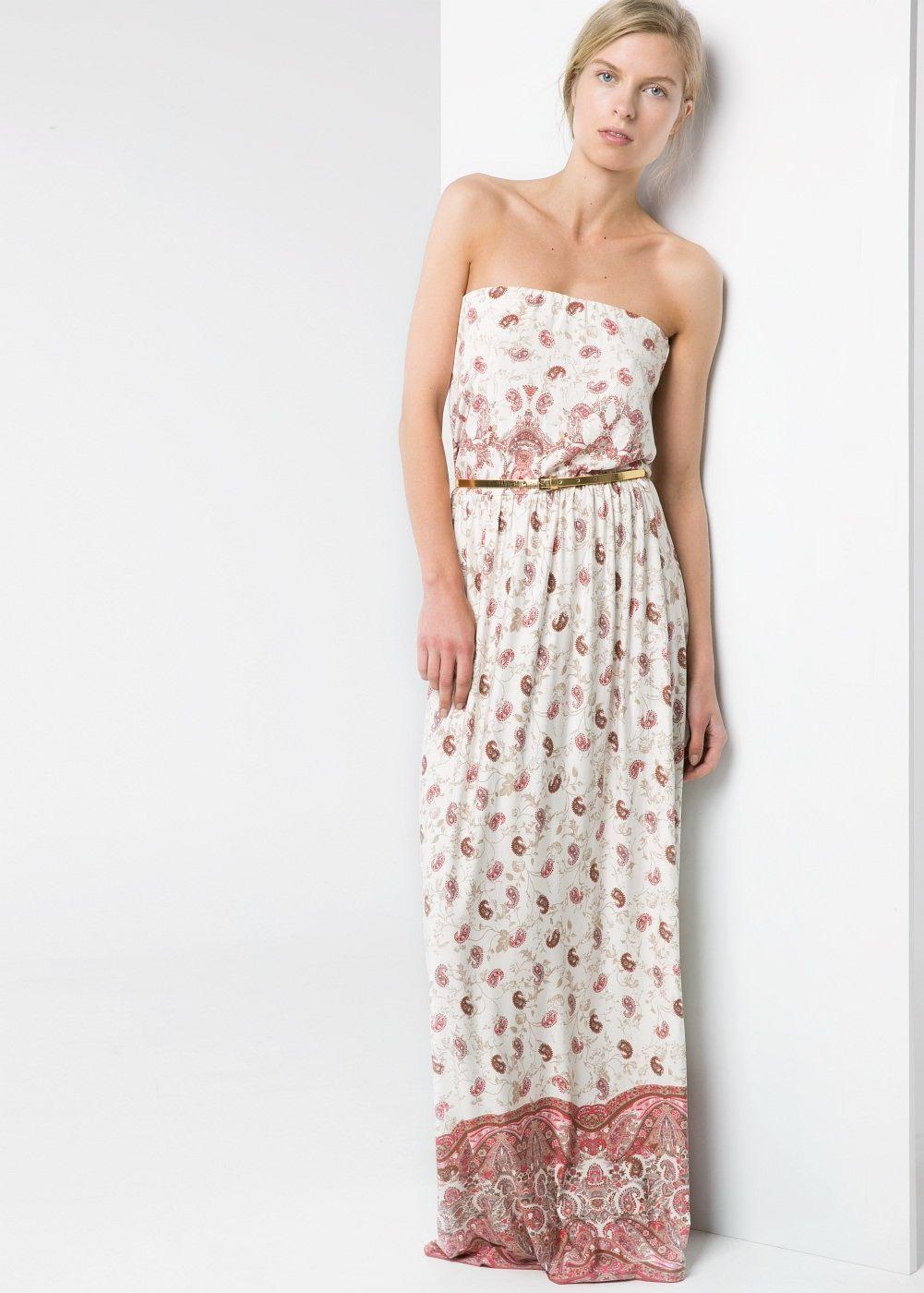 Strapless long dress - Woman  Mango Hong Kong  Strapless long