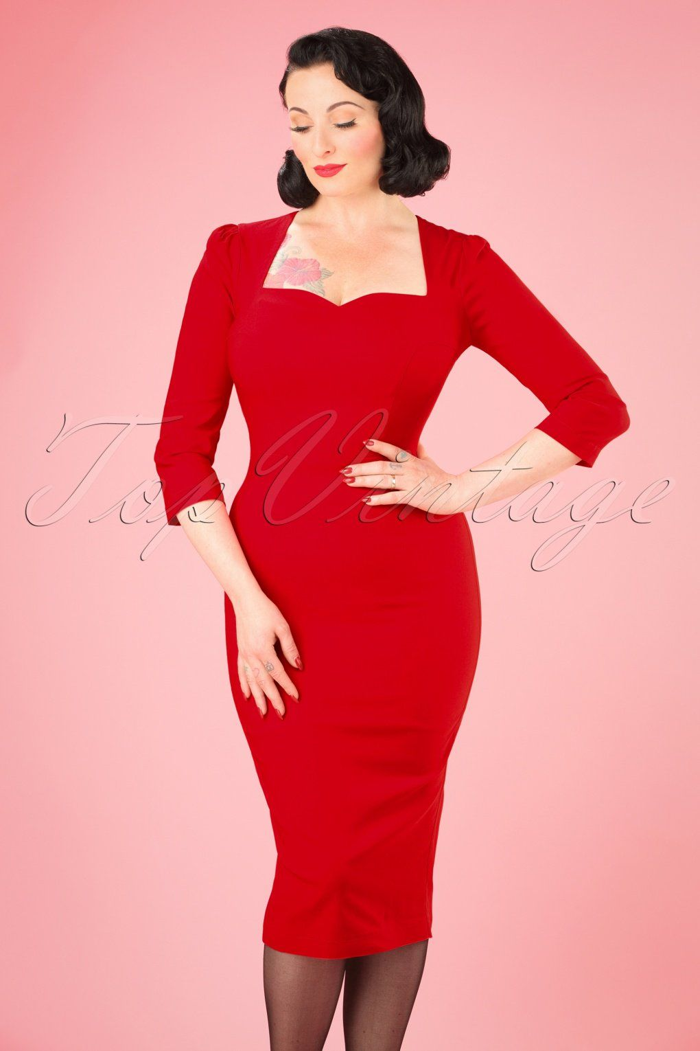 Collectif Vanessa Red Pinup Pencil Dress