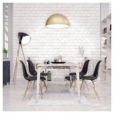 Textured Brick Peel Stick Wallpaper White Threshold White Brick Wallpaper Dining Room Design White Brick Walls