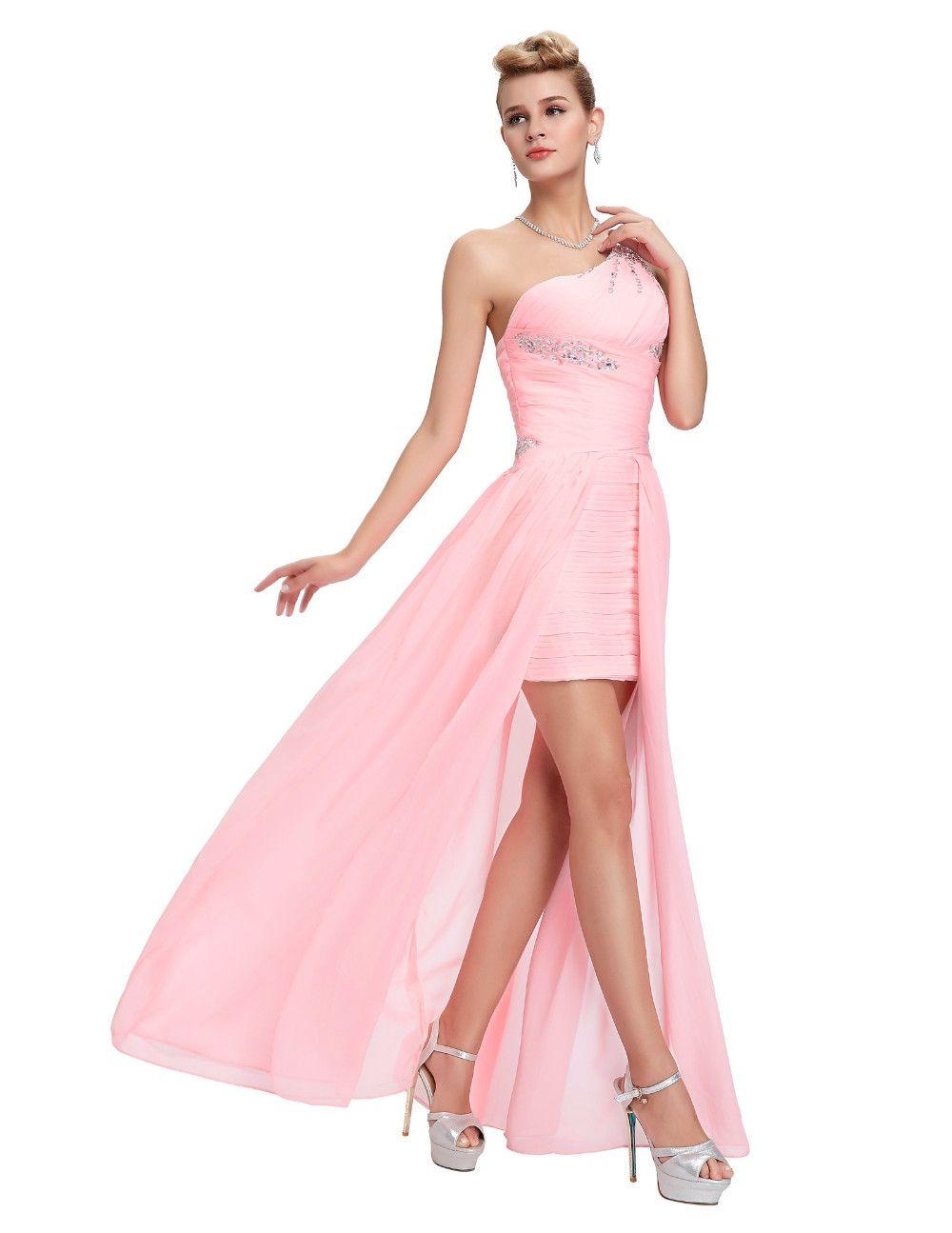 Elegant One Shoulder Pink Short Front Long Back Chiffon Bridesmaid Dress Uniqistic Com Buy Evening Dress Pink Prom Dresses Short Prom Dresses Long Black [ 1295 x 1000 Pixel ]