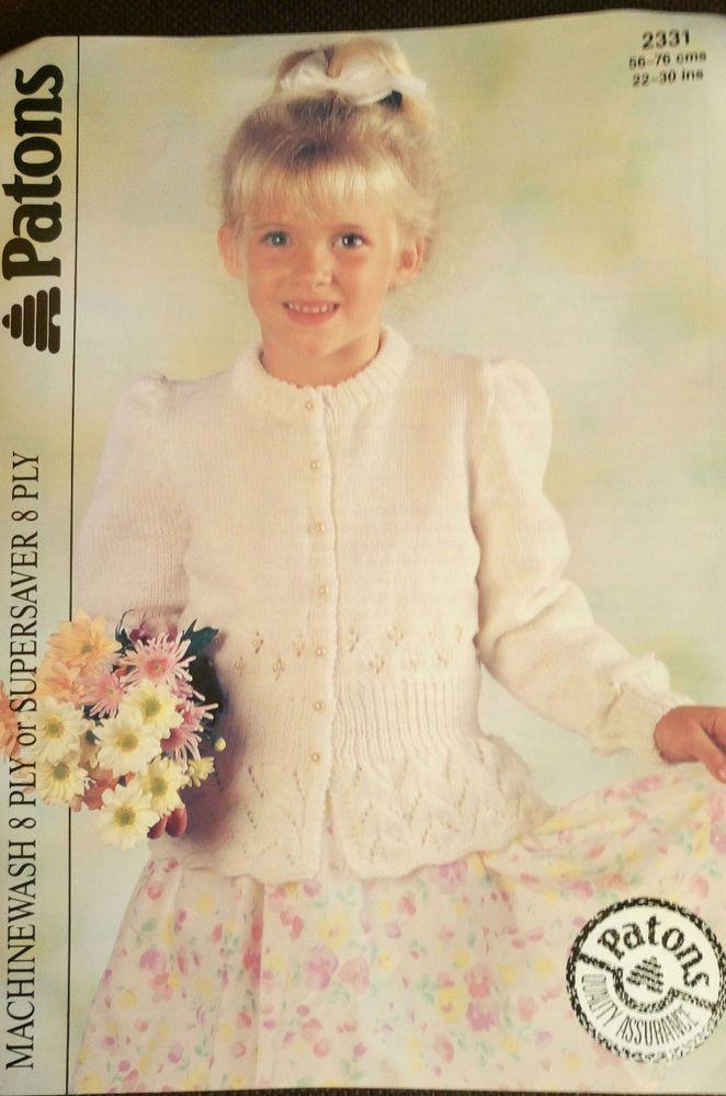 Girls Peplum Cardigan Patons # 2331 knitting pattern DK 8 ply yarn ...