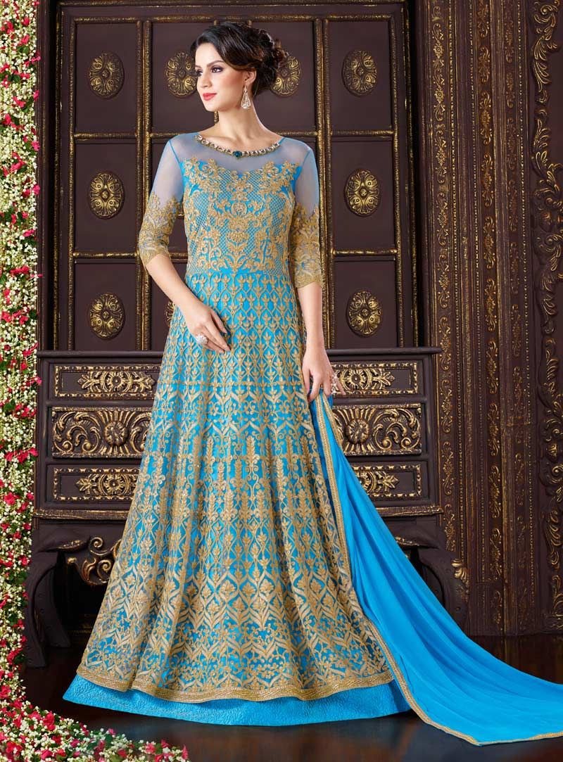 Sky Blue Net Layered Anarkali Suit 90139 | Bollywood dresses ...