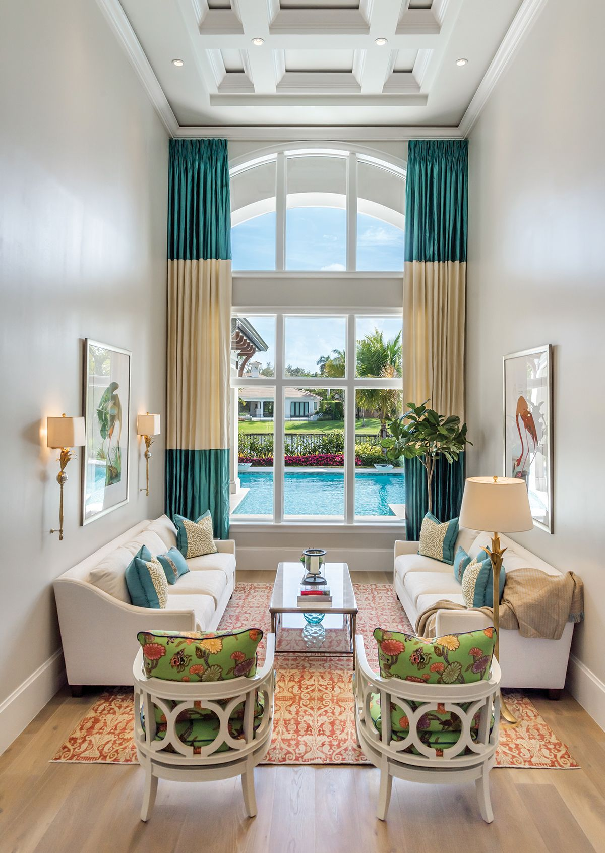 Classic And Coastal Elements Harmonize In Naples Home Florida Design In 2021 Contemporary Living Room Design Living Room Designs Contemporary Living Room Florida living room furniture