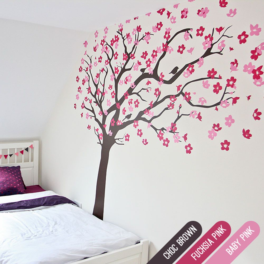 Cherry Blossom Tree With Birds Cherry Blossom Tree Blossom Trees Fuchsia Flowers