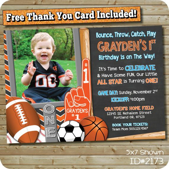 Sports Theme Invitation For An MVP, All Star, Little