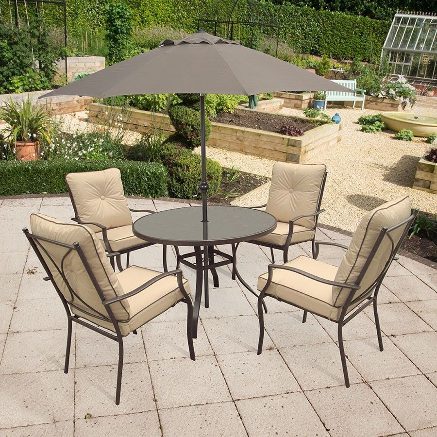 4 Seater Outdoor Dining Set Glass Table Steel Frame Parasol Garden Furniture Outdoor Furniture Sets Outdoor Dining Set Outdoor Decor