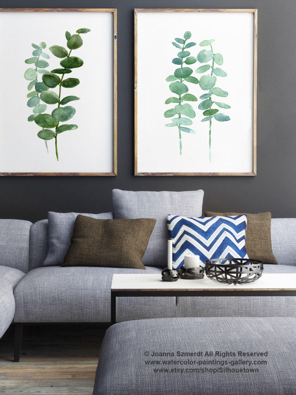 eucalyptus print set 2 botanical art prints, green leaves wall