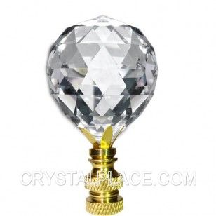 Crystal Finial 30mm Faceted Crystal Ball Prism Polished Brass Base