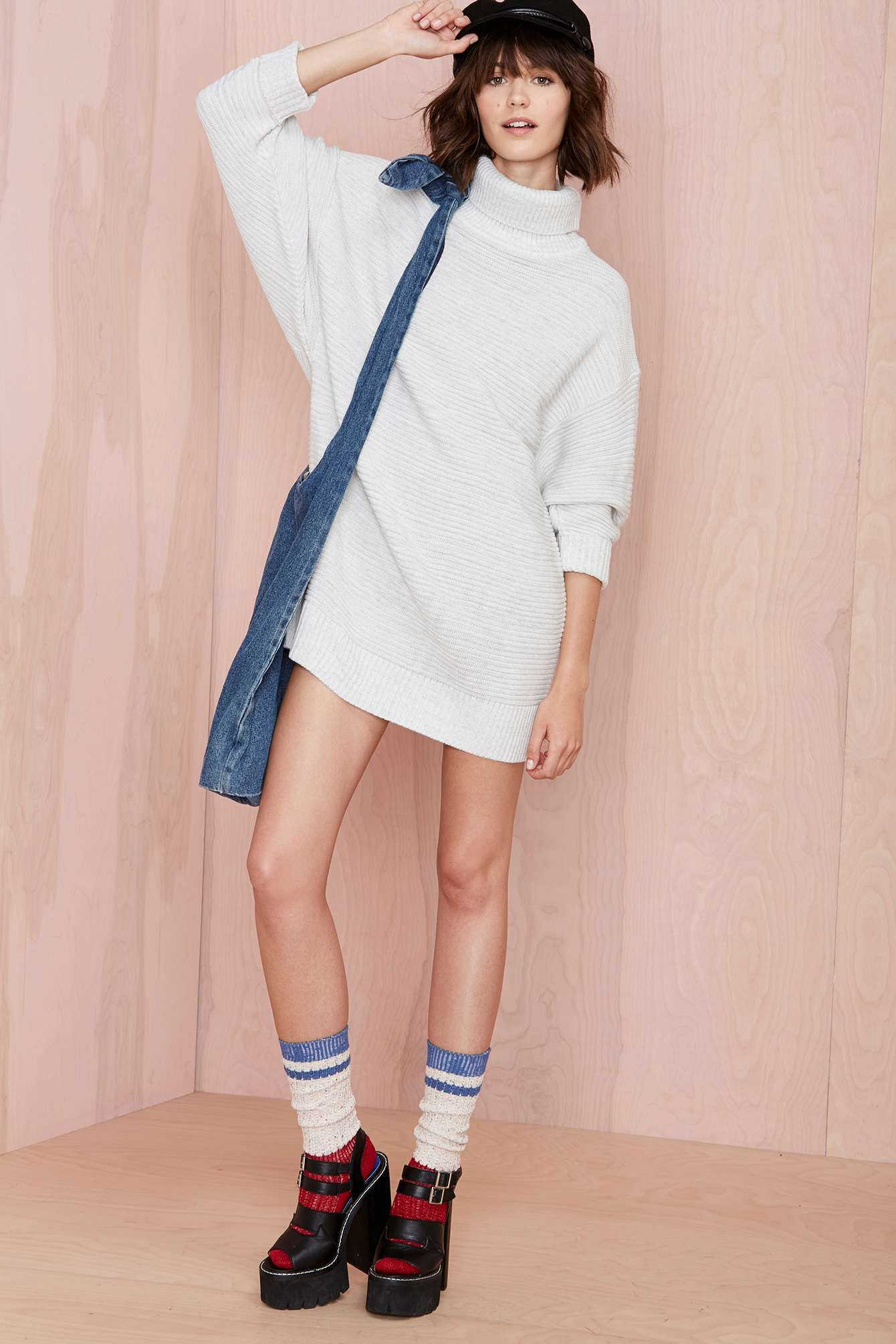 Pink sweater dress outfit  Nasty Gal Adrianne Sweater Dress  Shop Dresses at Nasty Gal  For