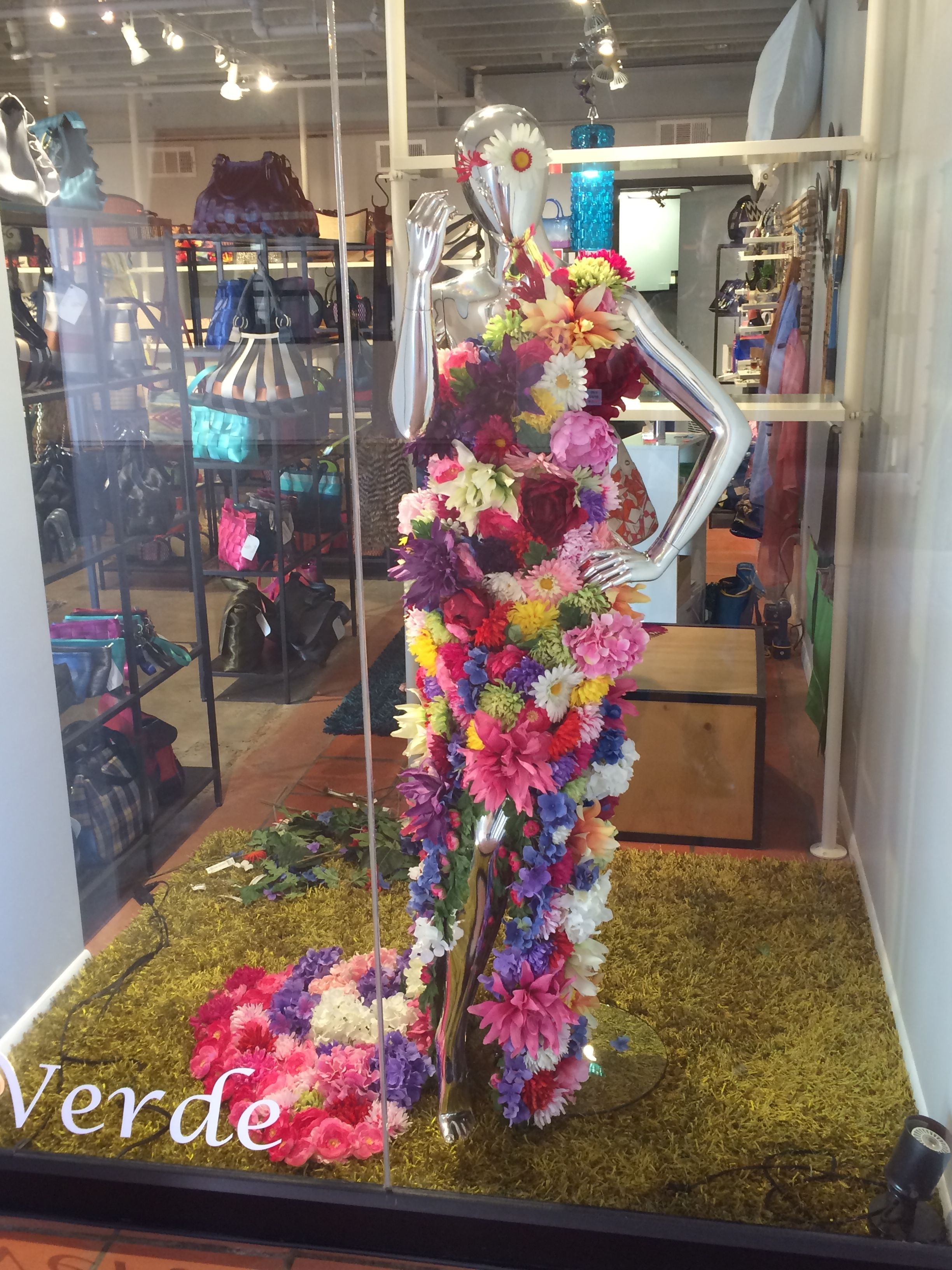A Dress Made Of Silk Flowers For Our Spring Window Display A Fairly