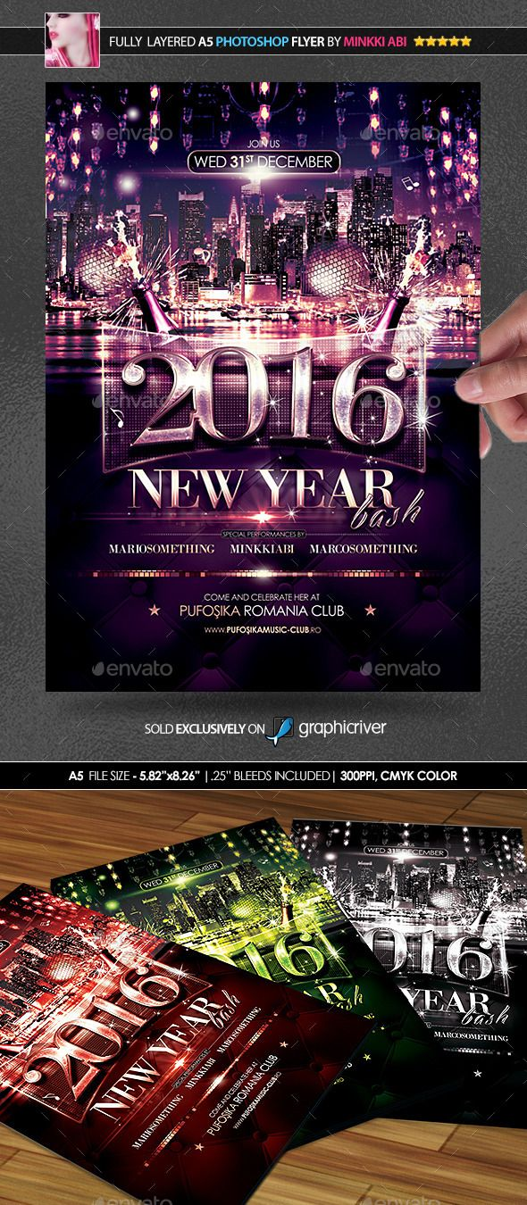 new year bash posterflyer photoshop psd club flyers template glamour