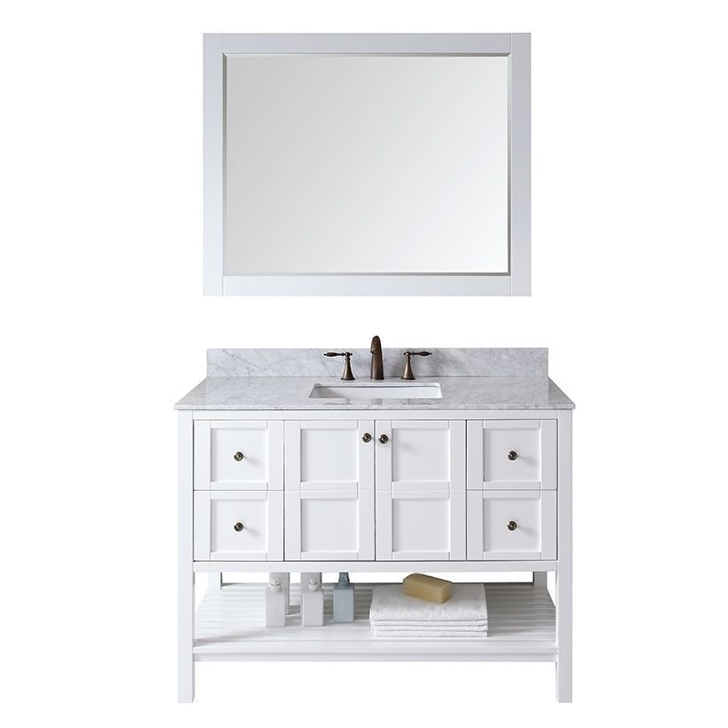 Virtu USA Winterfell 48 inch single sink vanity will give you that aesthetic pleasure by offering simplicity while still maintaining class. The Winterfell comes with two soft closing doors, four soft closing drawers, and an Italian White Marble top.
