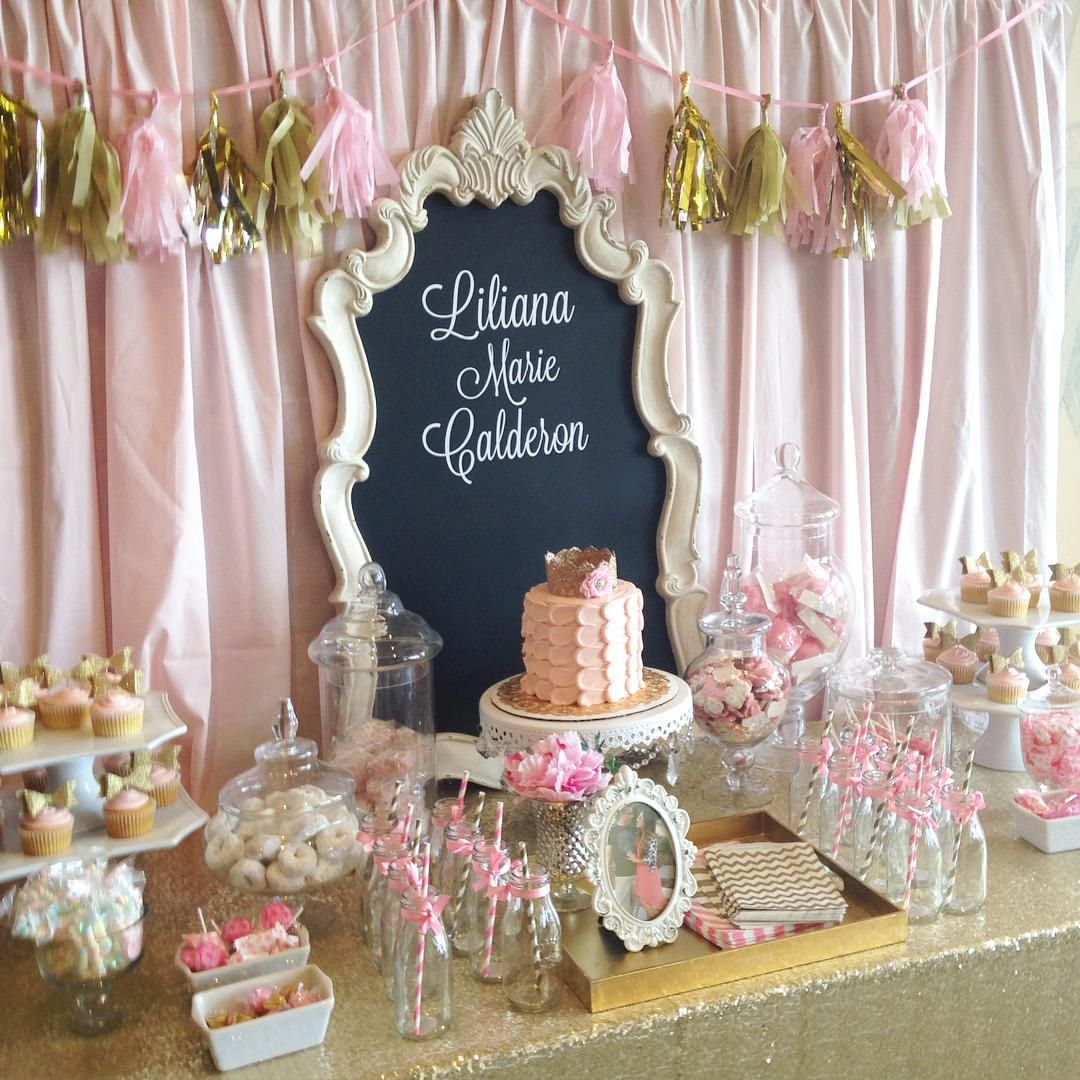 Pink And Gold Baby Shower Dessert Table Candy Buffet With