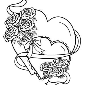 hearts roses hearts and roses tied with ribbon coloring page hearts and roses - Coloring Pages Hearts Roses