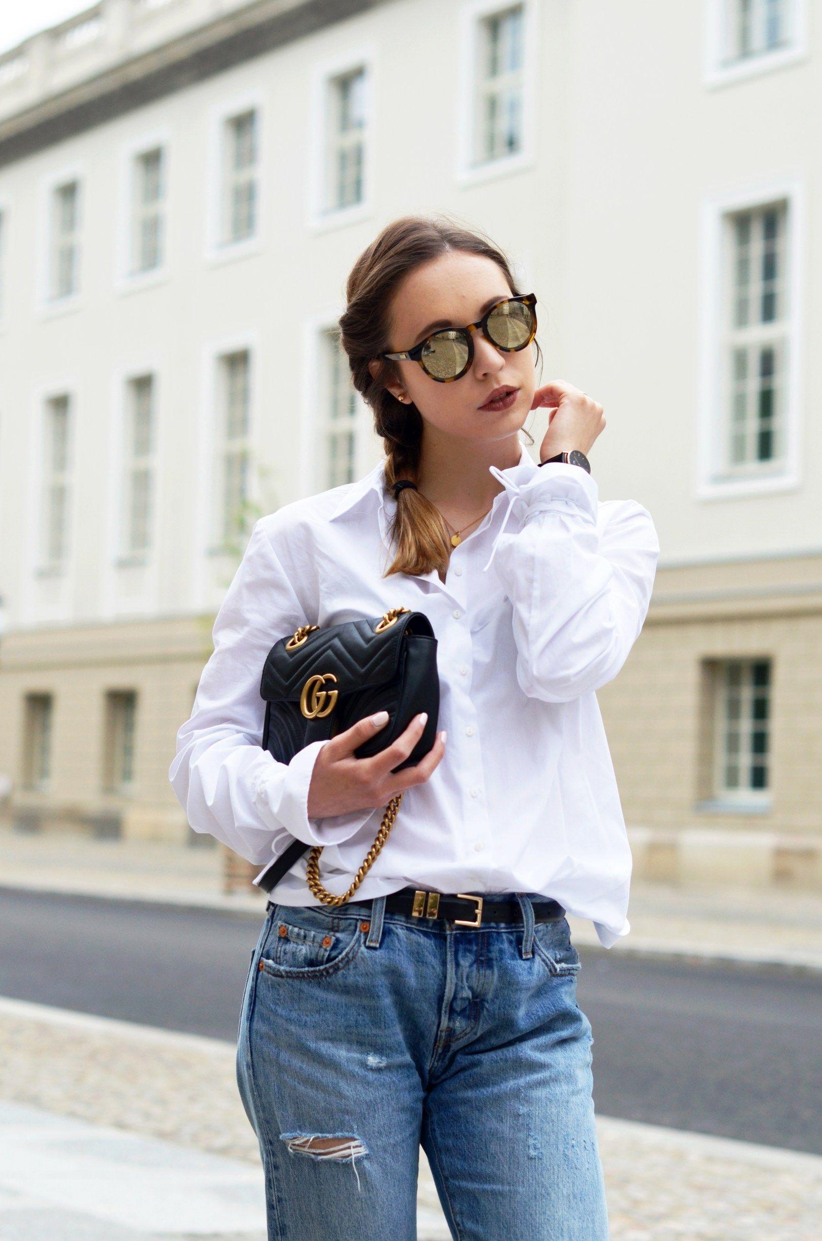basics kombinieren die klassische wei e bluse mit einer boyfriend jeans fashion bluse. Black Bedroom Furniture Sets. Home Design Ideas