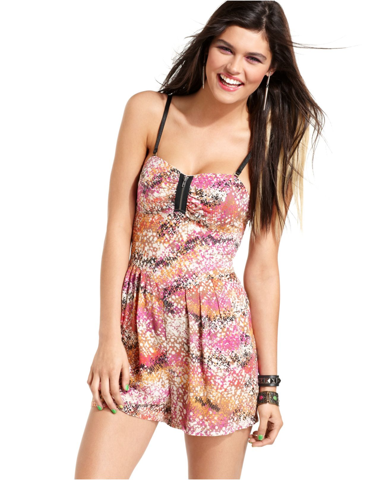 Material Girl Romper Sleeveless Zipper Printed - Juniors Jumpsuits U0026 Rompers - Macyu0026#39;s | Shirts ...