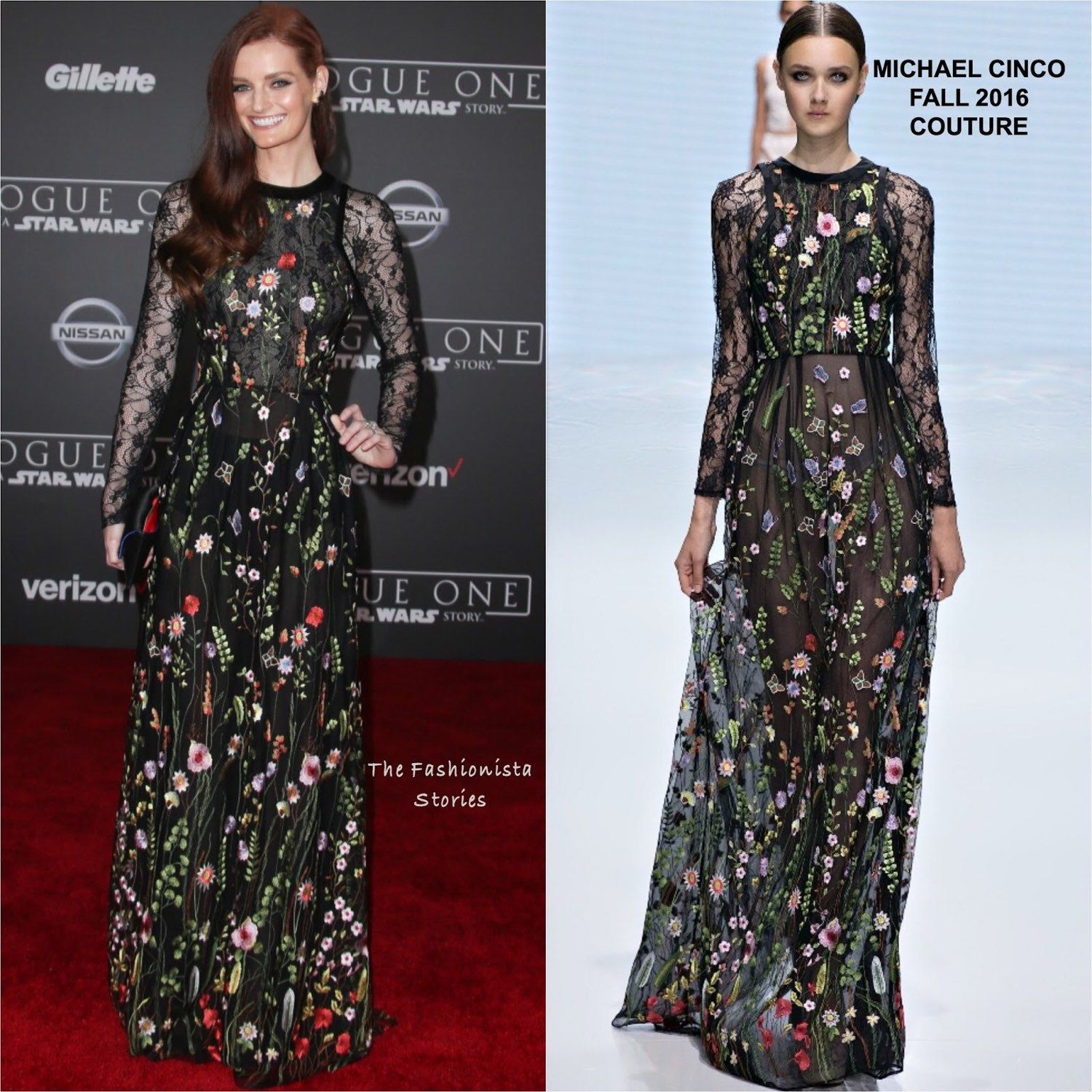 We are selling the same floral embroidered lace tulle fabric that Lydia Hearst was wearing during the red carpet event of Star Wars: Rouge One movie. Lydia was wearing a beautiful avant grade dress designed by Michael Cinco.