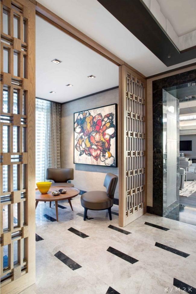 moderne penthouse einrichtung holzlattenwerk lounge bereich   es, Innenarchitektur ideen