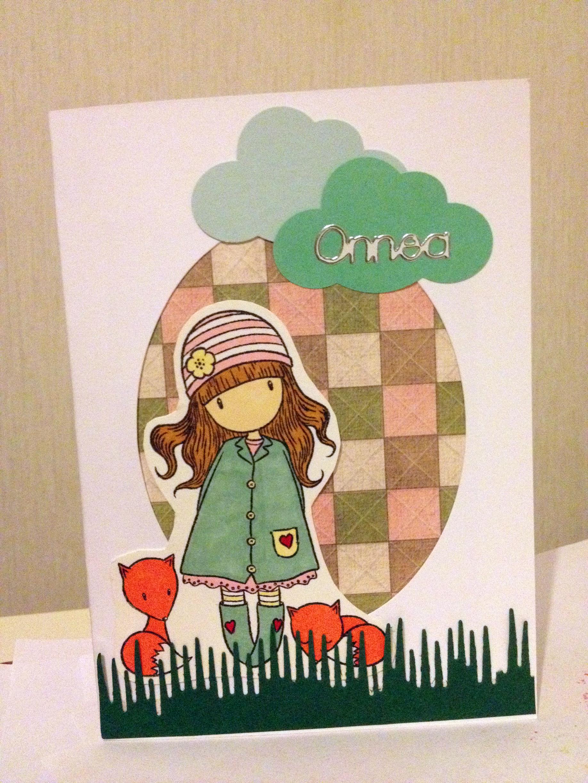 Tyttö ja ketut onnea kortti