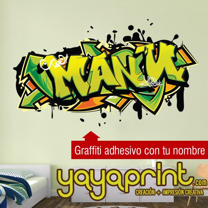 Graffiti Con Tu Nombre Personalizado En Vinilo Adhesivo A Cualquier Tamano Manu Graffiti Nombre Decoracion