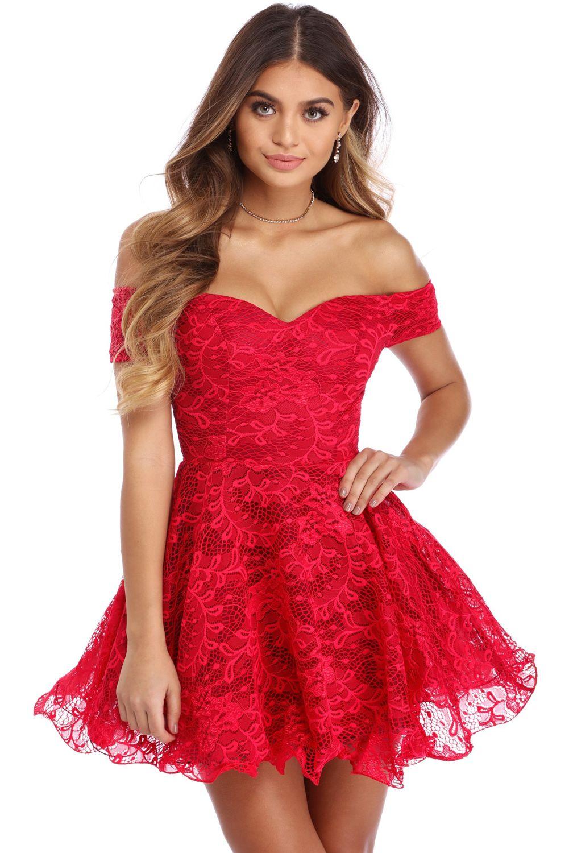 Red Strapless Drop Shoulder Lace Skater Dress Short Skater Dress Day Dresses Skater Dress [ 1500 x 1001 Pixel ]