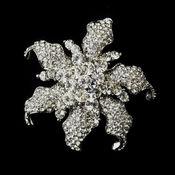 * Antique Silver Clear Rhinestone Flower Bridal Brooch 181