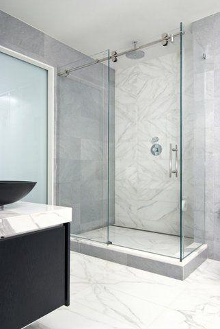 Eddy Cohen Epc Management Corp Calacatta Gold Bathroom Shower Doors Shower Sliding Glass Door Glass Shower Enclosures