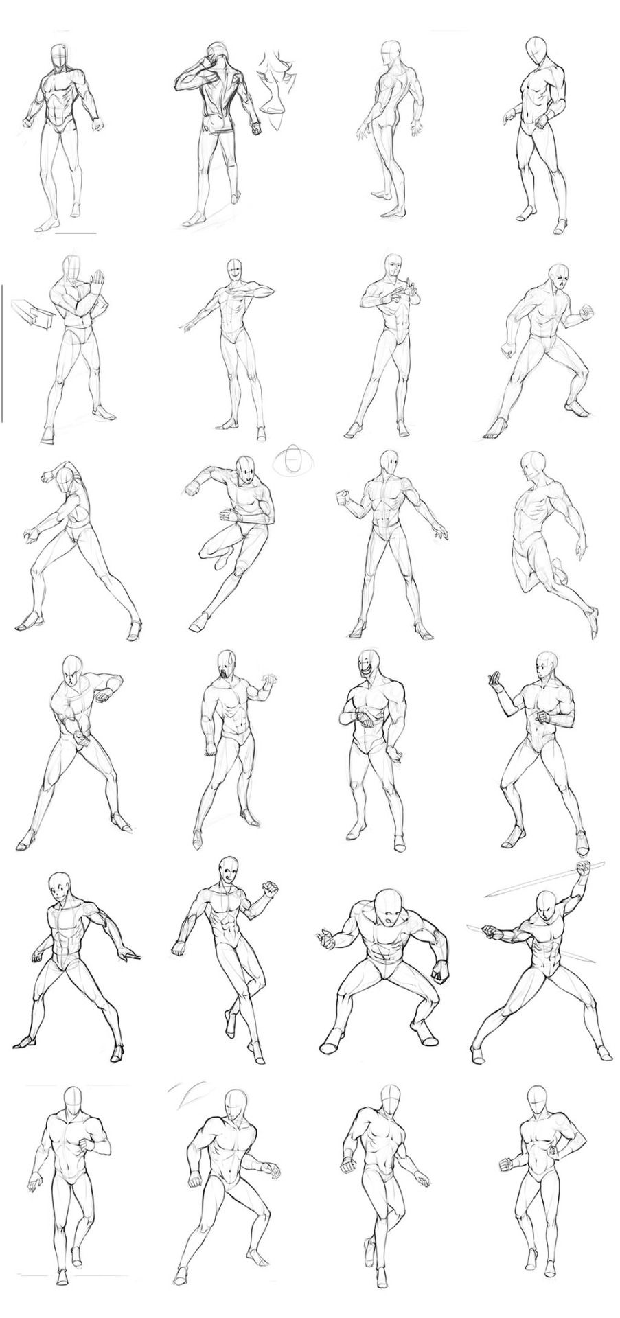 Non-Dynamic Male Pose Reference Row 1 Row 2 (Left), 3 (Left), & 4 ...