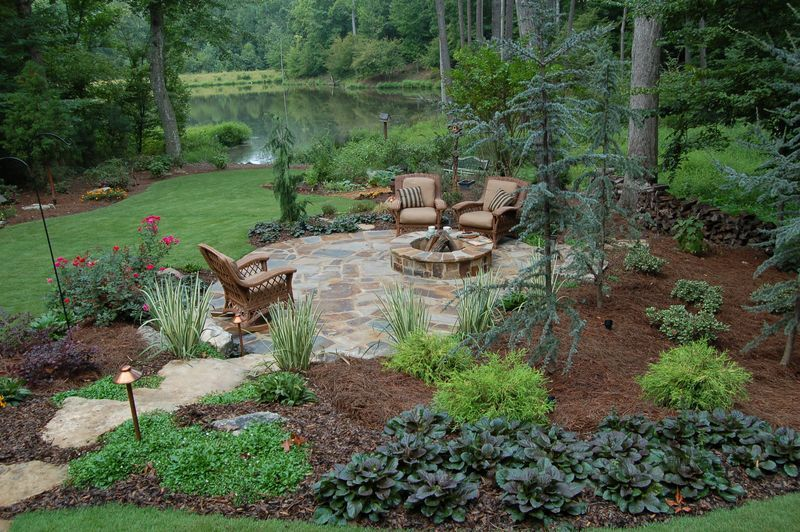 Less Grass Fire Pit Landscaping Large Backyard Landscaping