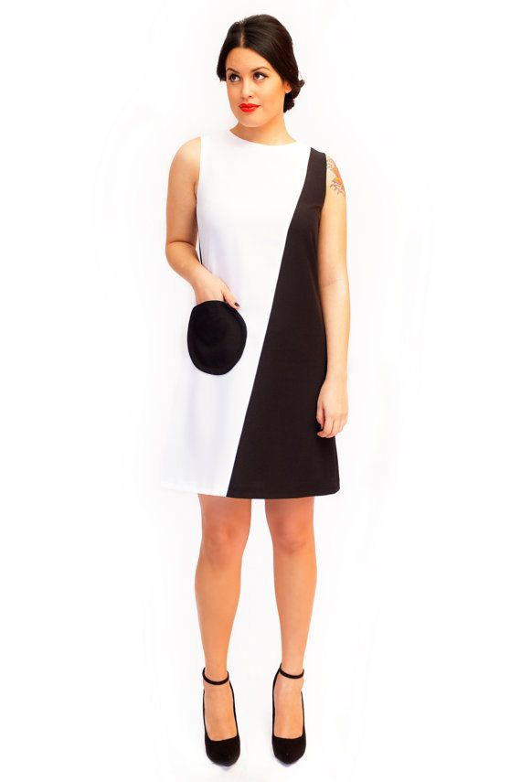 07d21ee476e0c Black and white Mod Dress 60s retro Audrey by swingingchicksshop, €82.00