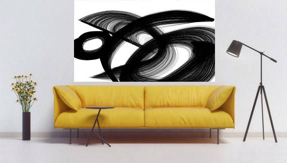 Passage. Contemporary Abstract Black and White, Unique Abstract Wall ...