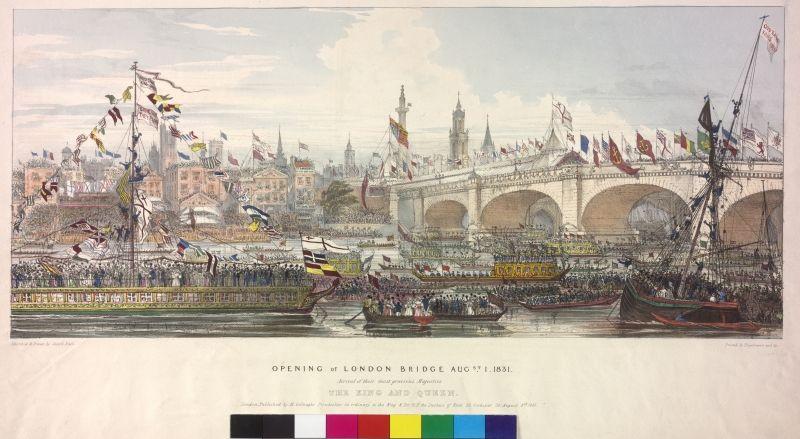 Eröffnung der London Bridge am 1. August 1831 Weitere Titel OPENING of LONDON BRIDGE AUGst. I. 1831 Beschreibung Kolorierte Lithografie von Joseph Nash nach eigener Zeichnung. Autor Nash, Joseph Technik Lithografie Datierung 1831