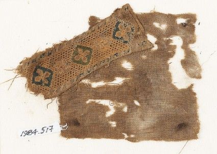 Egypt	(find spot) Fustat	(possible find spot) Near East	(place of creation) Date 10th - 15th century AD Material and techniquelinen, embroidered with blue, green, and yellow silk; pulled-thread openwork; linen backing; with a hem and stitching in flax