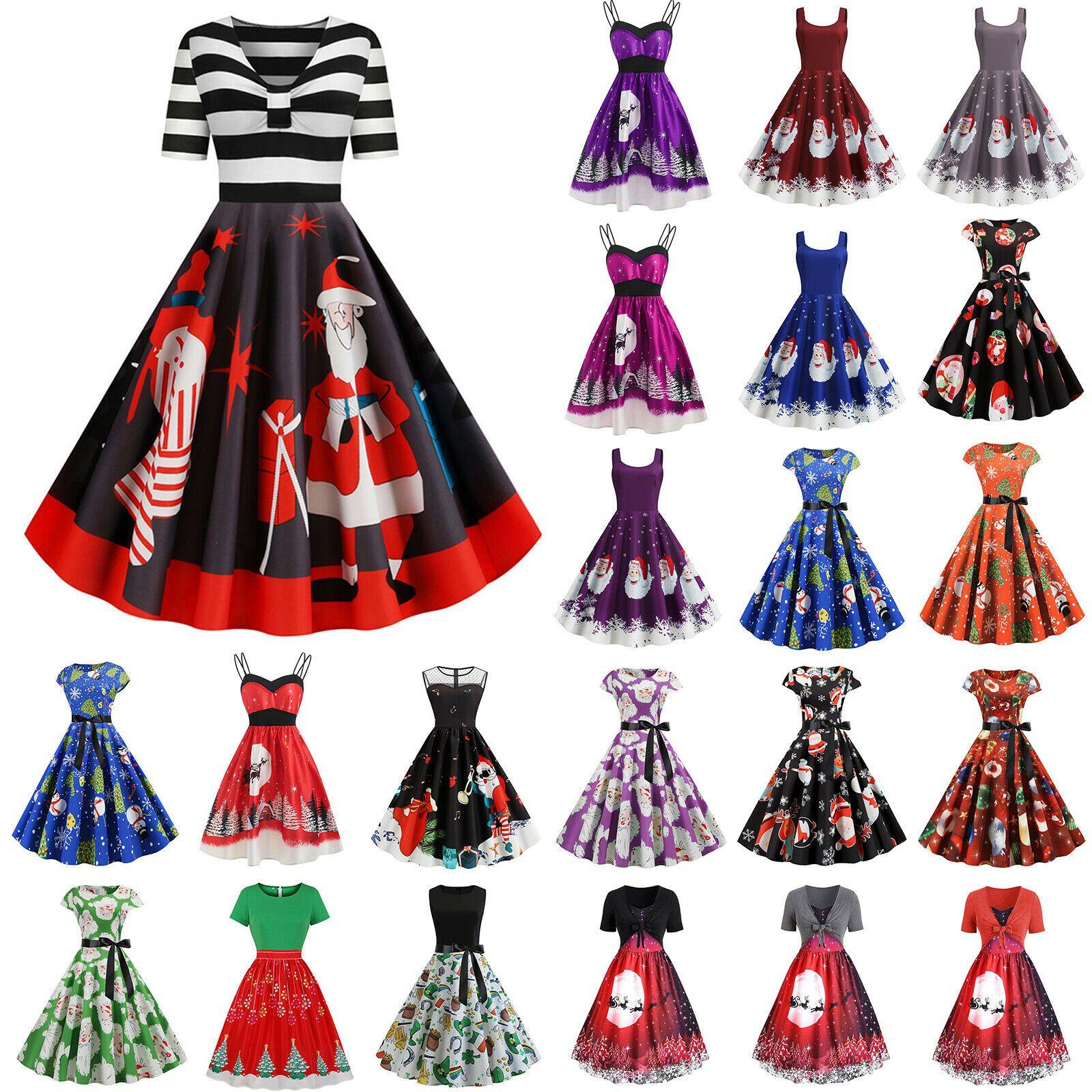 Damen Weihnachtskleid 11er Swing Skaterkleid Weihnachten Xmas