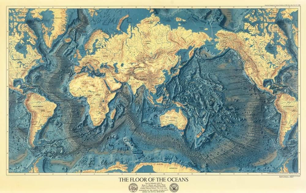 The Floors of the Ocean Naval Map Rolled Canvas Giclee Print 36x24 Inches