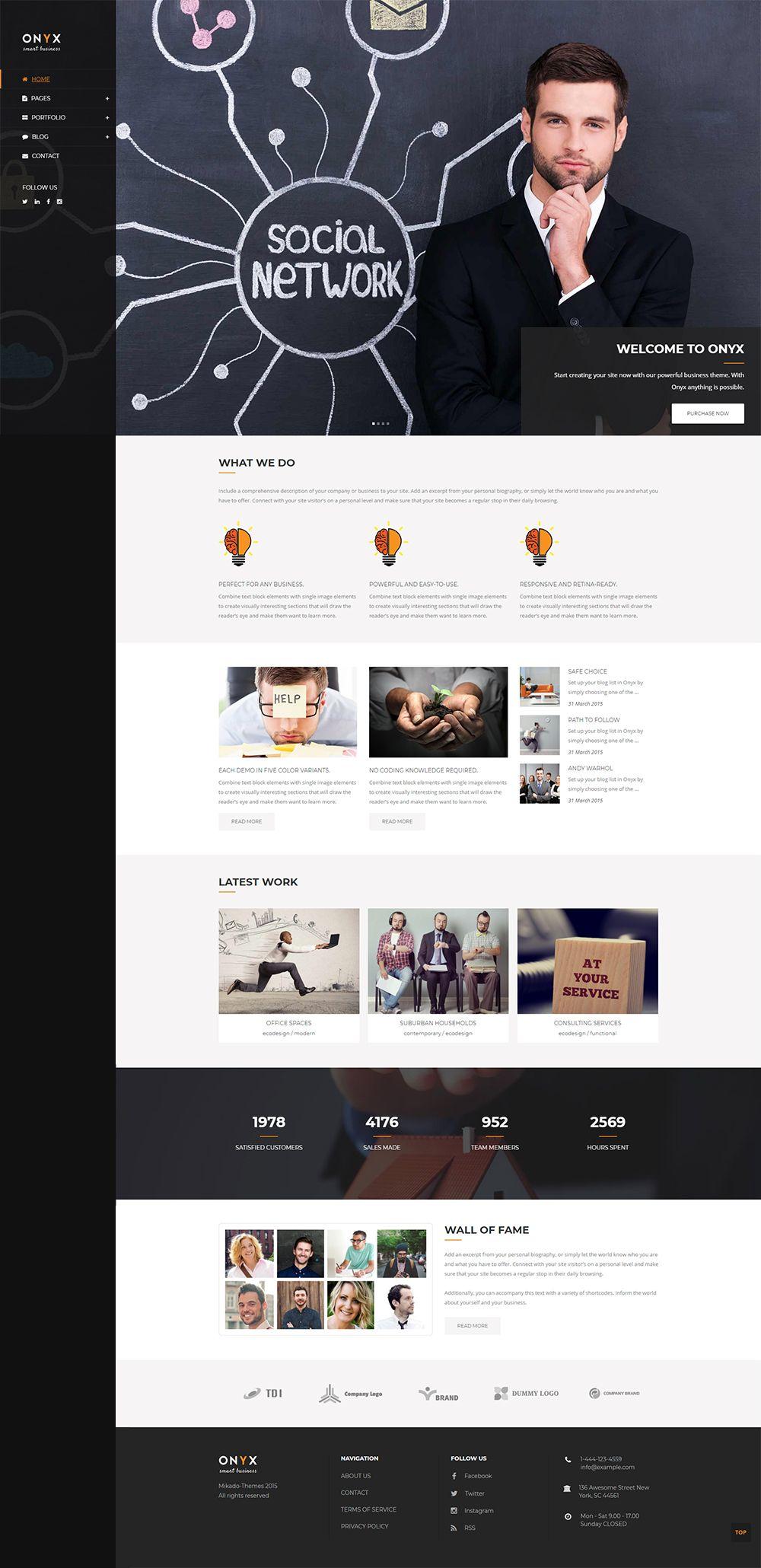 Change header style easily with Onyx WordPress theme!