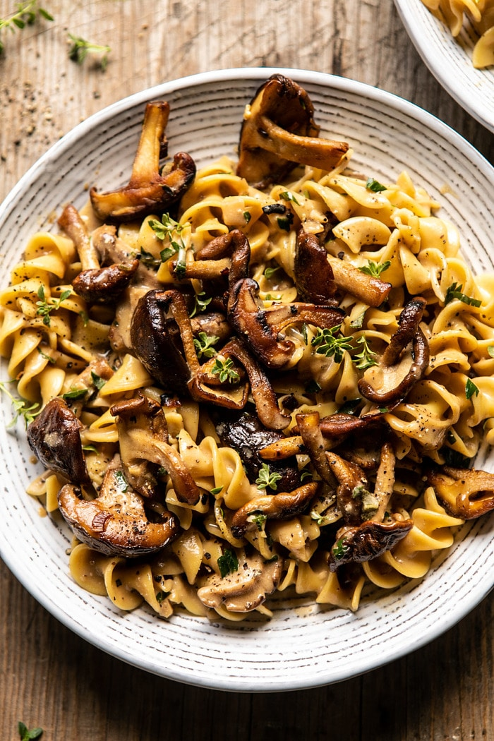 Herby Buttered Mushroom Stroganoff. - Half Baked H