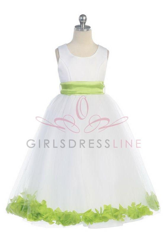 White satin tulle flower girl dress
